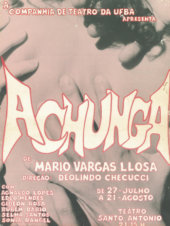 """Cartaz de divulgação do espetáculo """"A chunga"""" (1988), com direção de Deolindo Checcucci"""