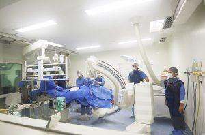 Sala de procedimentos da Unidade de Hemodinâmica