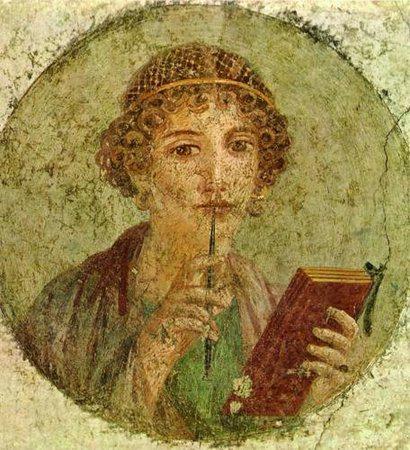 Imagem de Safo - poetisa, representante feminina da lírica grega. Esteve entre os nove poetas líricos do período arcaico. É precursora do movimento pelas mulheres na literatura.