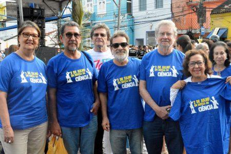 Vice-reitor da UFBA Paulo Miguez participou da mobilização ao lado dos presidentes da ABC, Luiz Davidowich, da ACB, Jailson Andrade, da Senadora Lídice da Mata, e da presidente da Academia de Letras da Bahia, Evelina Hoisel