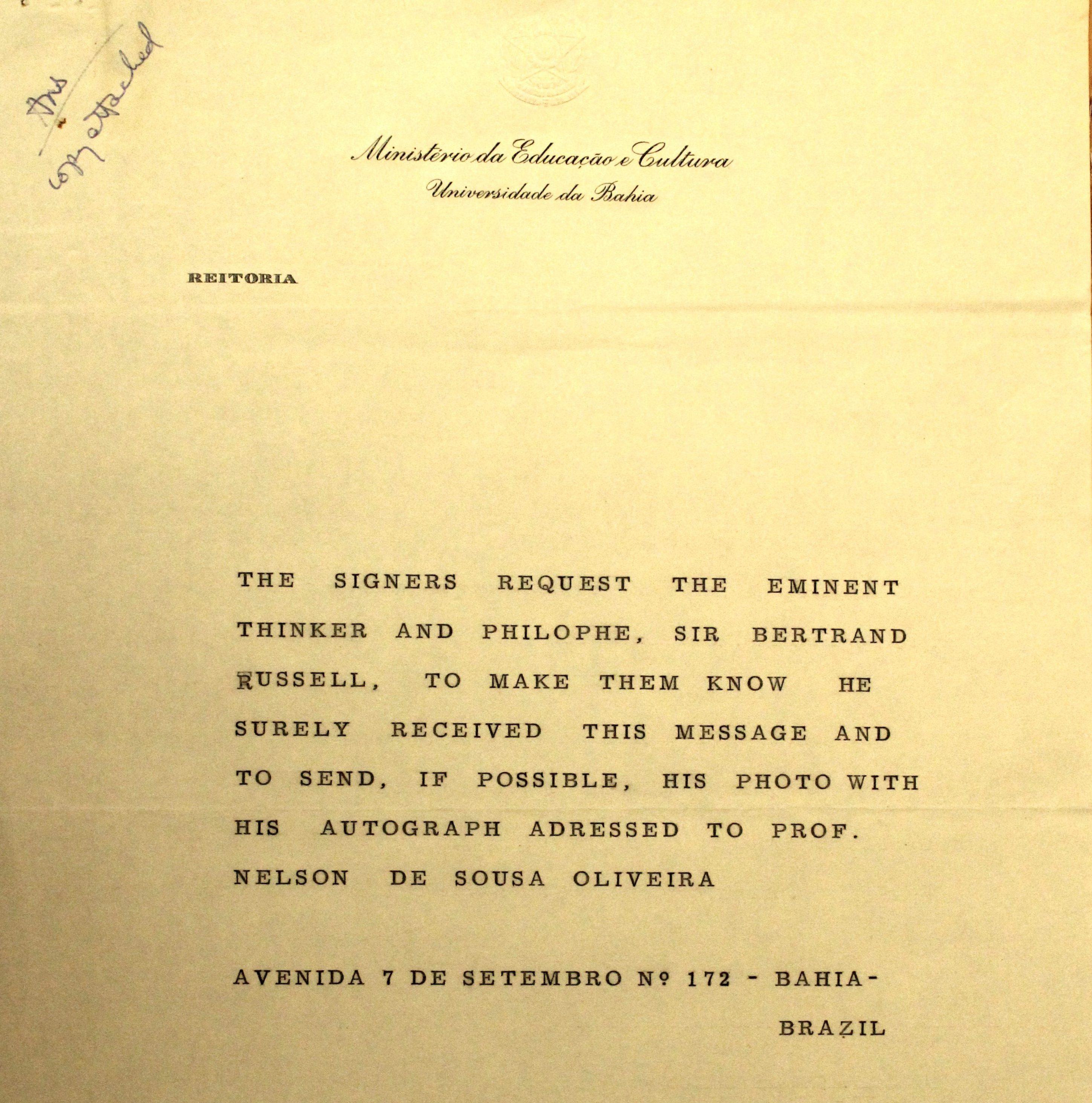 Capa da carta Bertrand Russel