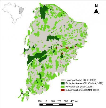 Localização da caatinga no nordeste brasileiro, com identificação das áreas protegidas, áreas prioritárias e terras indígenas, de acordo com dados do IBGE, Ministério do Meio Ambiente e FUNAI