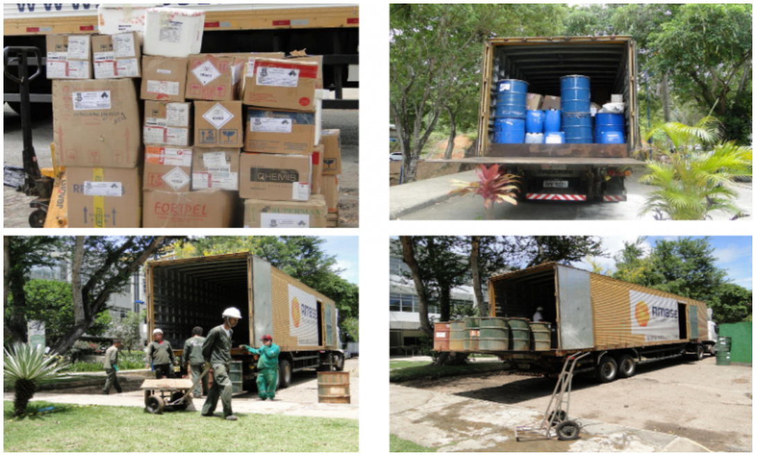Coleta de resíduos químicos no campus da UFBA, em 2018